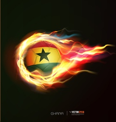 Ghana flag with flying soccer ball on fire vector