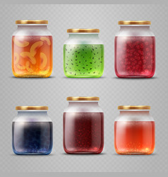 glass jar with with jam and fruit marmalade vector image