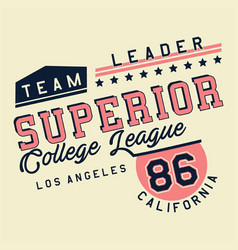 graphic superior college league vector image vector image