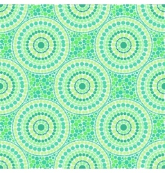 Green colors dotted circles seamless pattern vector image