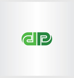 green letters d and p logo icon vector image vector image