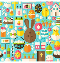 Happy Easter Holiday Flat Blue Seamless Pattern vector image