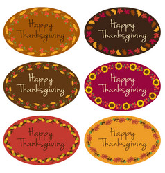 happy thanksgiving oval labels vector image vector image