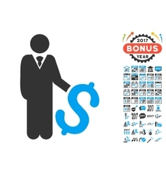 Investor icon with 2017 year bonus pictograms vector