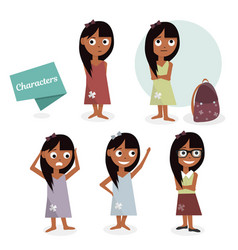 Kids characters cartoon girls set vector