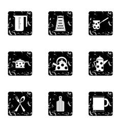 Kitchen utensils icons set grunge style vector