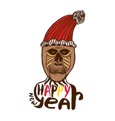 monkey print happy new year card year of monkey vector image vector image