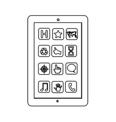 Monochrome contour with tablet screen icons vector