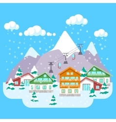 Mountain Ski Resort with Winter Landscape vector image