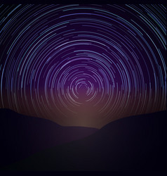 Night sky with star trails milky way vector