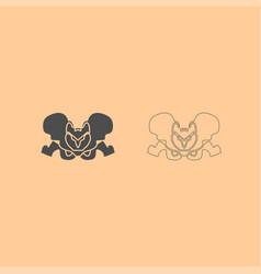 Pelvis skeleton dark grey set icon vector