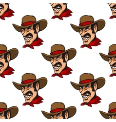 Seamless background with cowboy in hat vector