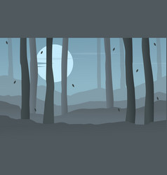 silhouette of forest at night landscape vector image