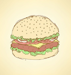Sketch tasty hamburger in vintage style vector