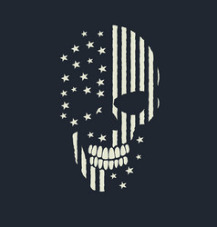 Skull made like the american flag vector