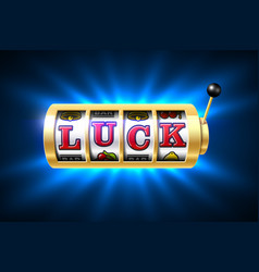 Slot machine with luck word one-armed bandit vector