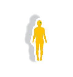 Stylish icon in paper sticker style body eye vector