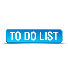 To do list blue 3d realistic square isolated vector image vector image