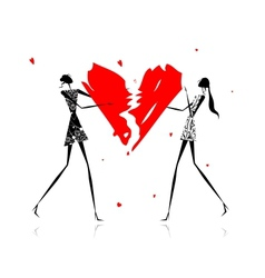 Valentine day Girls with broken heart vector image vector image