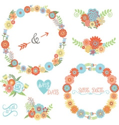 Wedding Flower Elements set vector image vector image