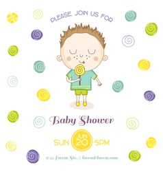 Baby shower or arrival card - baby boy with candy vector