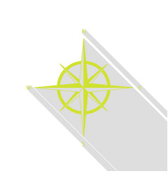 Wind rose sign pear icon with flat style shadow vector