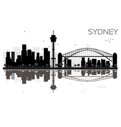 Sydney city skyline black and white silhouette vector