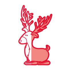 red silhouette of funny reindeer lazy vector image
