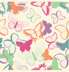 seamless pattern with colorful butterflies vector image