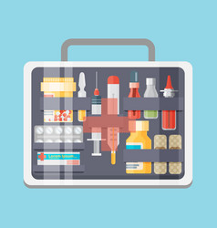 Healthcare equipment medical bag with tools vector