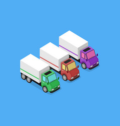 Isometric delivery van car icon vector