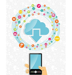 Mobile cloud computing network concept vector