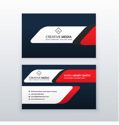 Professional business card design template in red vector