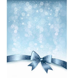 Christmas holiday background with gift glossy bow vector