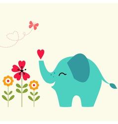 Elephant with heart vector