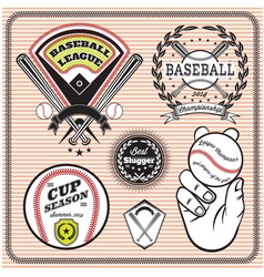 Set of emblems and signs for baseball vector