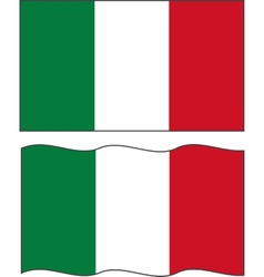 Flat and waving Italian Flag vector image