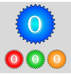 Number zero icon sign set of coloured buttons vector