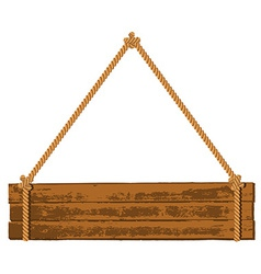Wooden signboard on the rope vector
