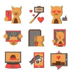 Stylish color icons for selfie lifestyle vector