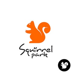Squirrel logo cute small sitting squirrel symbol vector