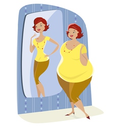 Full lady and her slim reflection vector