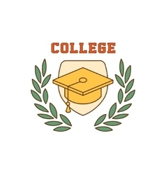 Framed square hat college logo vector