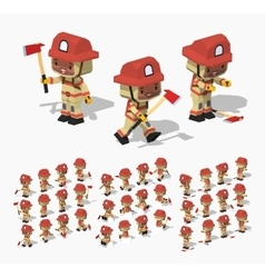 Low poly firefighter vector