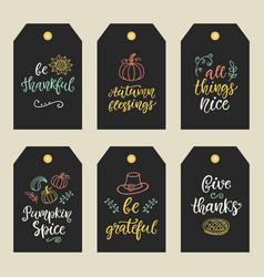 autumn and thanksgiving day gift tags vector image