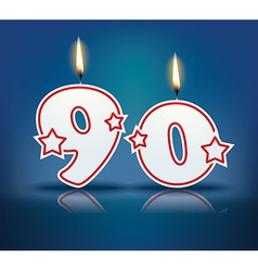Birthday candle number 90 vector