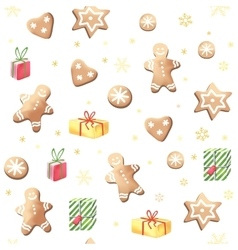 Christmas gingerbreads and gifts vector image