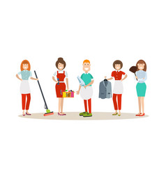 Cleaning people in flat style vector
