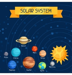 Cosmic with planets of the solar system vector