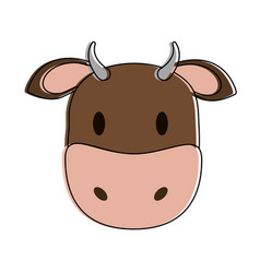 Cow or bull animal face cartoon icon image vector